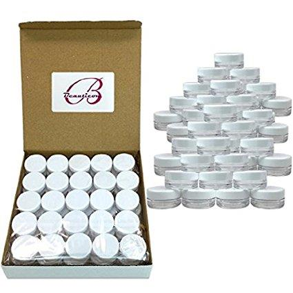 Beauticom 50 Pieces High Quality 5 Gram 5 ml (0.17 oz) Acrylic Round Cosmetic Beauty Makeup Sample Jars with White Lids