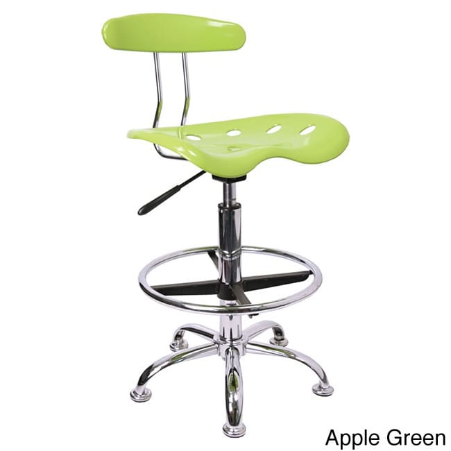 Offex Chrome Drafting Stool with Tractor Seat Apple Green