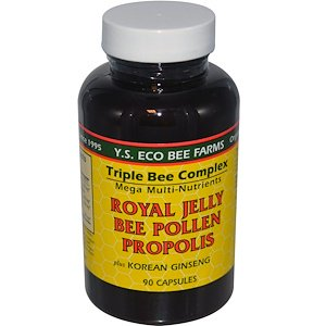 Korean Ginseng Royal Jelly - Y.S. Eco Bee Farms, Royal Jelly, Bee Pollen, Propolis, Plus Korean Ginseng, 90 Capsules (Pack of 1)