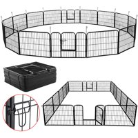 Yaheetech 32 Panels 24-inch Dog Playpen - Heavy Duty Metal Foldable Pets Playpen Dog Exercise Pen Barrier Kennel with Door for Cat Duck Chicken Puppy Fence Outdoor Indoor Black