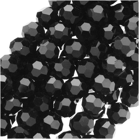 Jet Black Glass Faceted Round Beads 4mm (14.5 Inch - Faceted Jet Black Glass