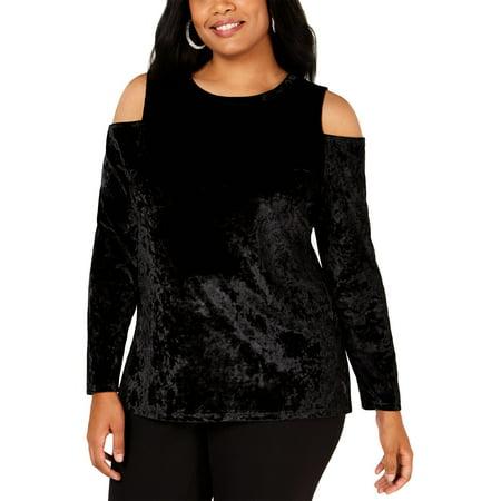 MICHAEL Michael Kors Womens Plus Velvet Cold Shoulder Blouse Black 1X Michael Kors Womens Blouse