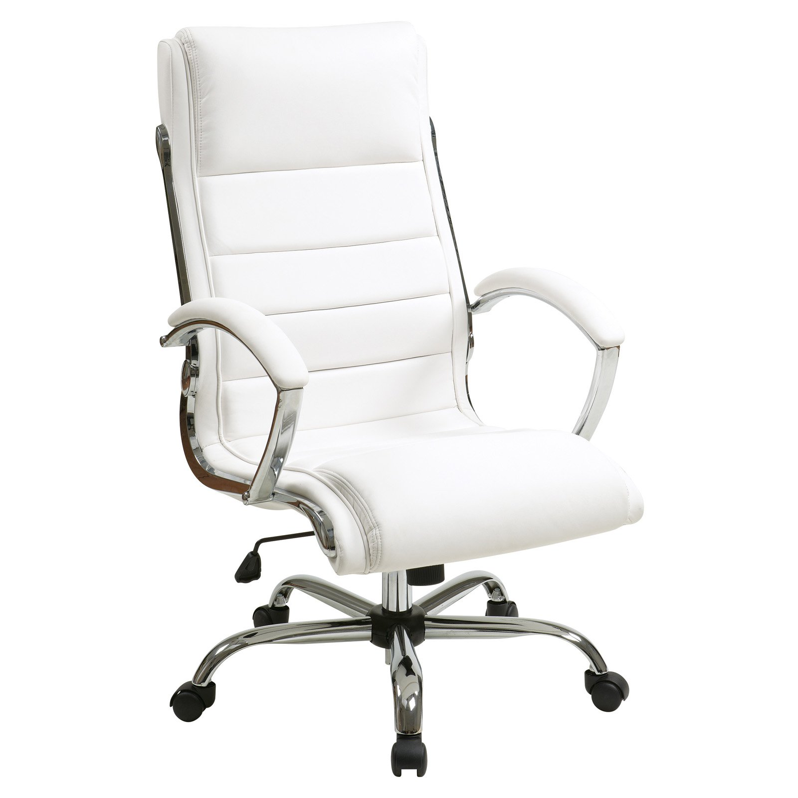 Executive Chair with Thick Padded Faux Leather Seat and Back, Built-In Lumbar Support, Multiple Colors