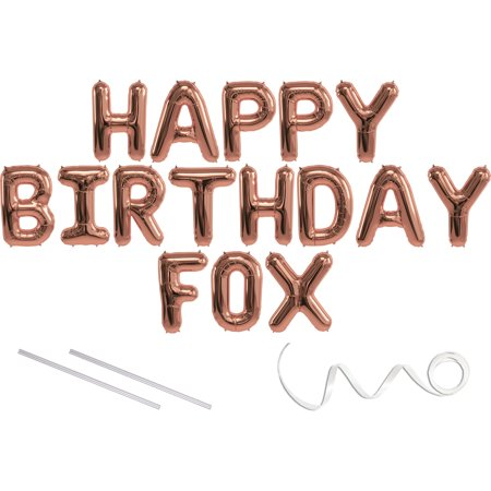 Fox Float Air Pressure - Fox, Happy Birthday Mylar Balloon Banner - Rose Gold - 16 inch Letters. Includes 2 Straws for Inflating, String for Hanging. Air Fill Only- Does Not Float w/Helium. Great Birthday Decoration