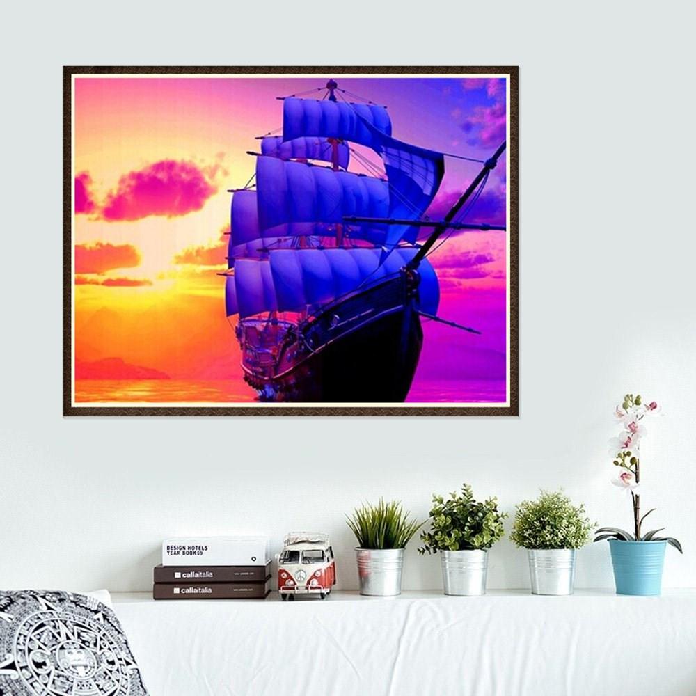 iLH Mallroom 5D Diamond Sailing Ship Embroidery Painting Cross Stitch Kit DIY Home Decor