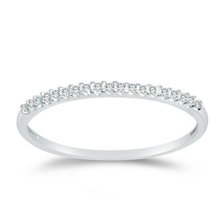 Solid 14k White Gold 1.5mm Round Cut Thin Pave Set Anniversary Ring Wedding Band CZ Cubic Zirconia 1/4 cttw. , Size 7