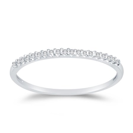 Solid 14k White Gold 1.5mm Round Cut Thin Pave Set Anniversary Ring Wedding Band CZ Cubic Zirconia 1/4 cttw. , Size 7 14k White Gold Cz Rings