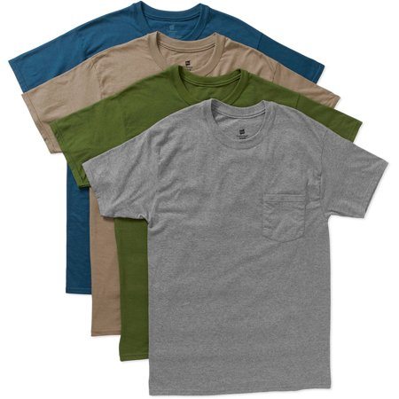 Hanes men 39 s dyed crew pocket t shirts 4 pack for Hanes beefy t custom shirts