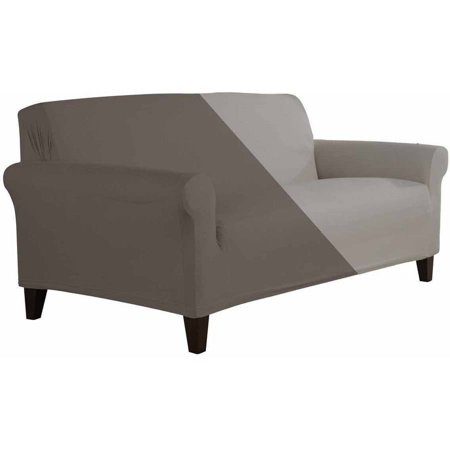 Serta Reversible Microsuede Stretch Fit Slipcover Loveseat 1 Piece Box Cushion