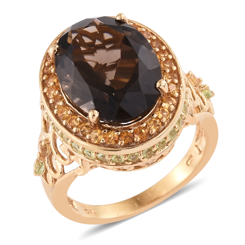 Smoky Quartz, Citrine, Peridot 14K Yellow Gold Plated Silver Ring 10.71 cttw.