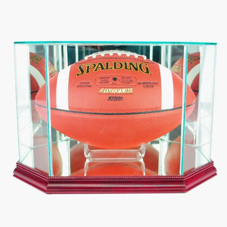 Perfect Cases Octagon Football Display Case, Cherry Finish