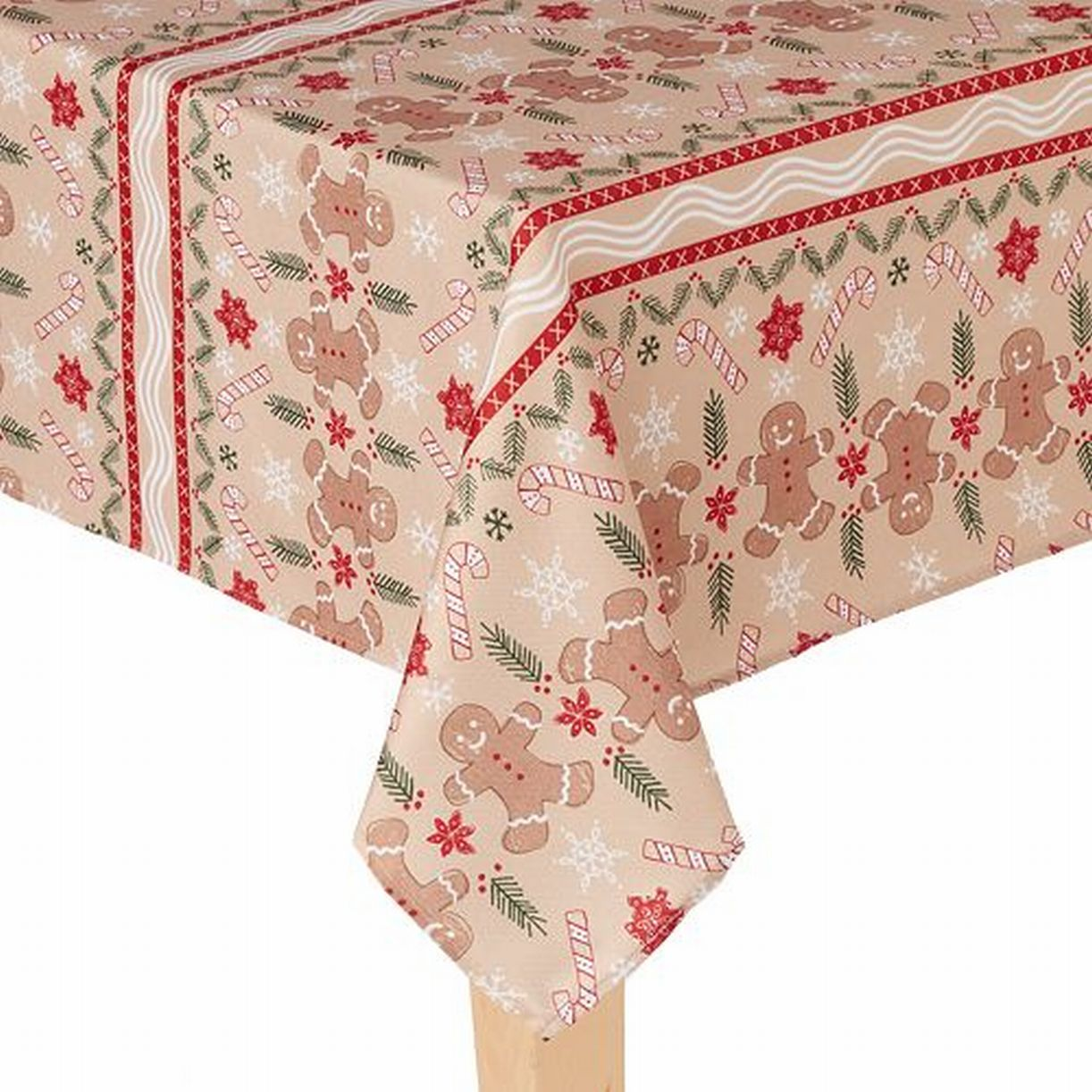 St Nicholas Square Gingerbread Man Christmas Tablecloth Fabric ...