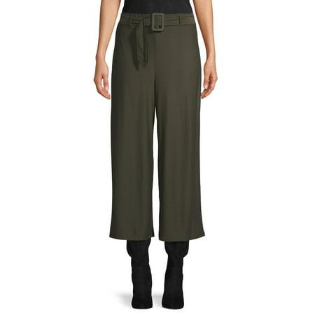No Comment Juniors' Wide Leg Cropped Knit Pants Jersey Wide Leg Cropped Pants