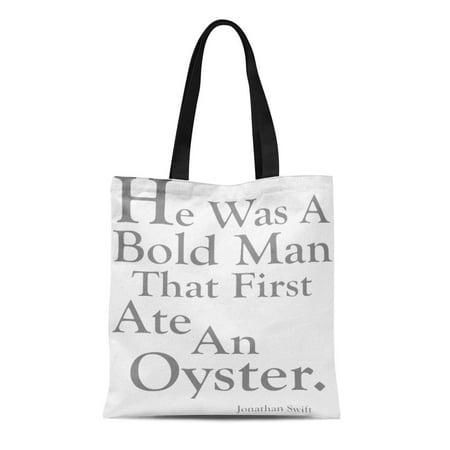 ASHLEIGH Canvas Tote Bag Name Ate Oyster Funny Long Reusable Handbag Shoulder Grocery Shopping (Satchel Oyster)