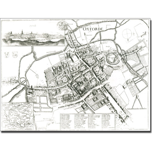Trademark Art 'Map of Oxford, 1643' Canvas Art by Wenceslaus Hollar