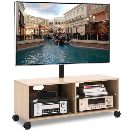 Rfiver Wood TV Stand Media Console with Mount and Wheels for Most 32 37 40 43 47 50 55 60 65