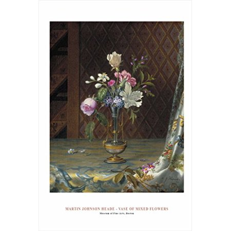 - Vase Of Mixed Flowers by Mart Johnson Heade 36x24 Art Print Poster Famous Painting Floral Still Life Unique Vase and Flowers