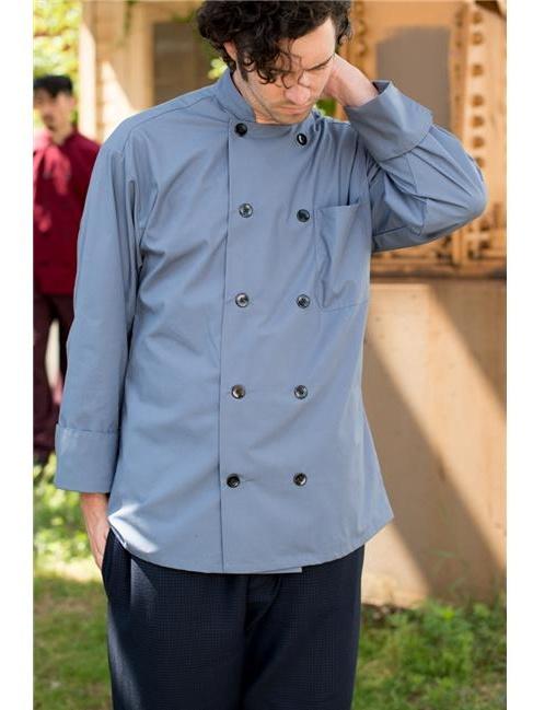 Uncommon Threads 0413-6207 5.25 oz 10 Button Classic Poplin Chef Coat, Steel - 3XL