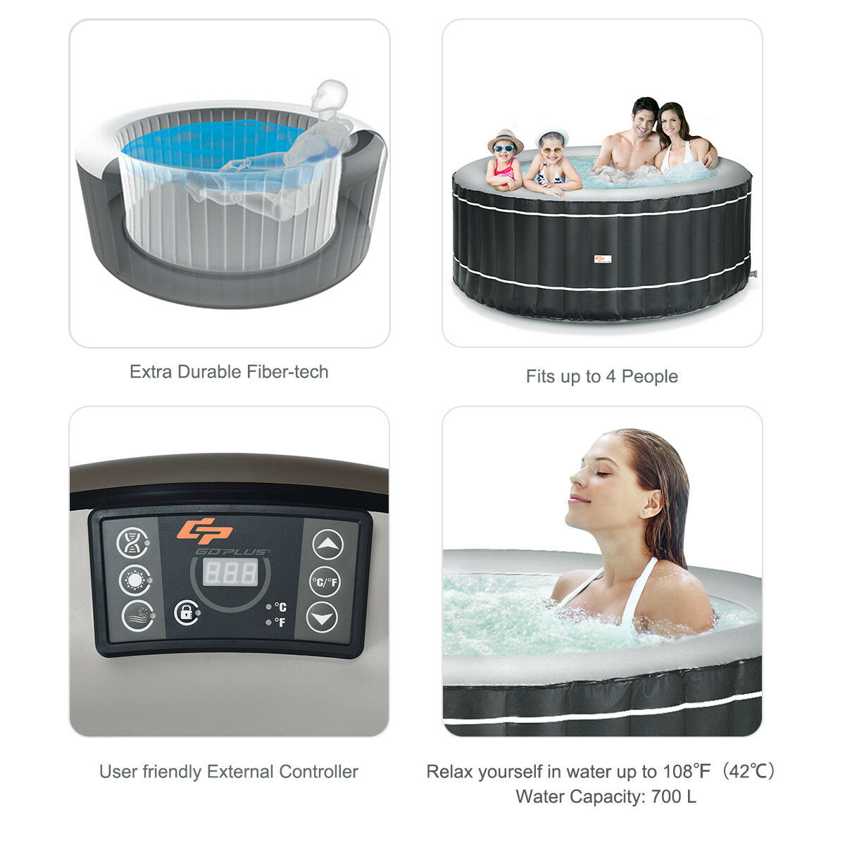 4-Person Inflatable Hot Tub Portable Outdoor Bubble Jet Leisure Massage Spa Gray - image 7 of 8