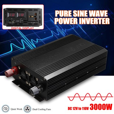 4000W 60Hz Pure Sine Wave Power Inverter DC 12V to 110V AC Converter Car
