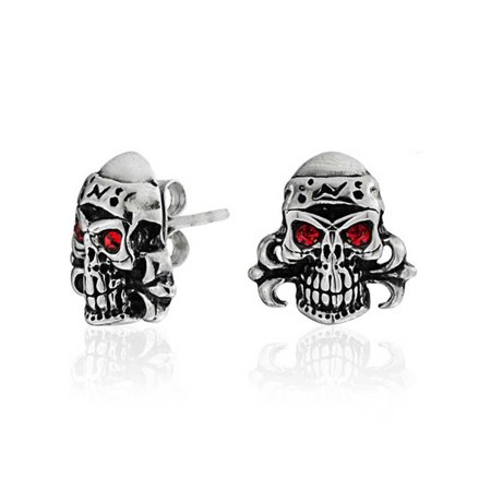 Pirate Earrings For Men (Caribbean Pirate Skull Red Crystal Eyes Stud Earrings For Men For Women Silver Tone Black Oxidized Stainless)