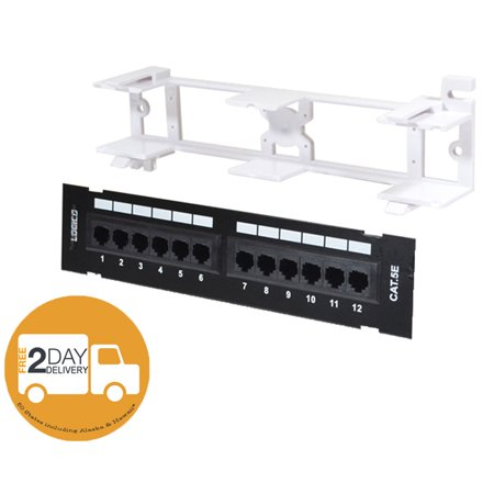 CAT5E Cable UTP 12 Port Network Mini Patch Panel with Surface Wall Mount Bracket 12 Port Network Patch Panel
