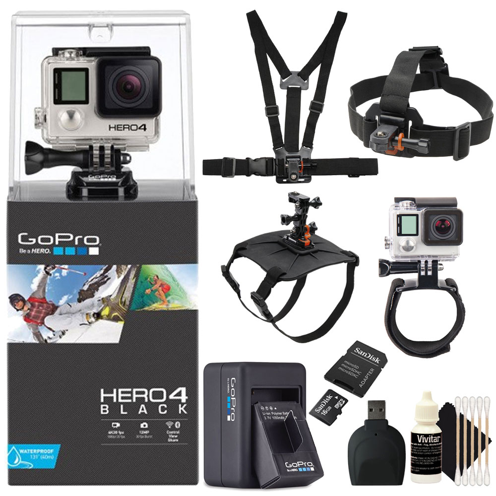 GoPro Hero4 Black Edition Camera with 16GB Memory Card + ...