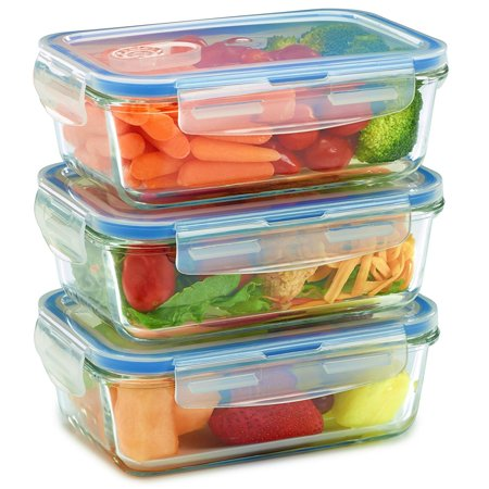 - 3 Pack - Glass Meal Prep Containers for Food Storage w/ Snap Locking Lids Airtight & Leak Proof - BPA Free - Oven, Dishwasher, Microwave, Freezer Safe - Odor and Stain Resistant USDA Food Grade Glass
