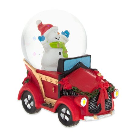 Joyful Snowman Riding a Christmas Car Miniature Snow (Xmas Snow)