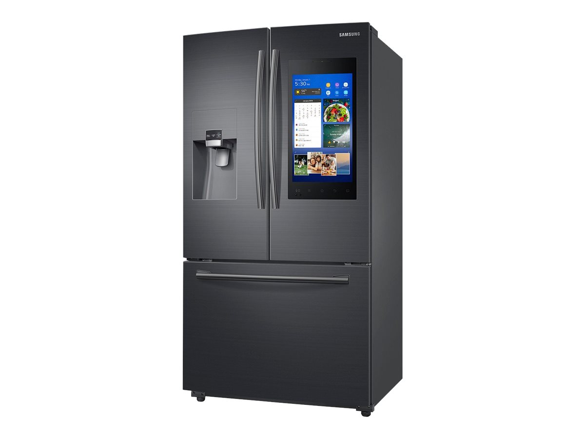 """Samsung Family Hub RF265BEAESG - Refrigerator/freezer - freestanding - Wi-Fi - width: 35.7 in - depth: 35.6 in - height: 70 in - 24.2 cu. ft - french style with ice & water dispenser - black stainless steel with built-in 21.5"""" media center"""