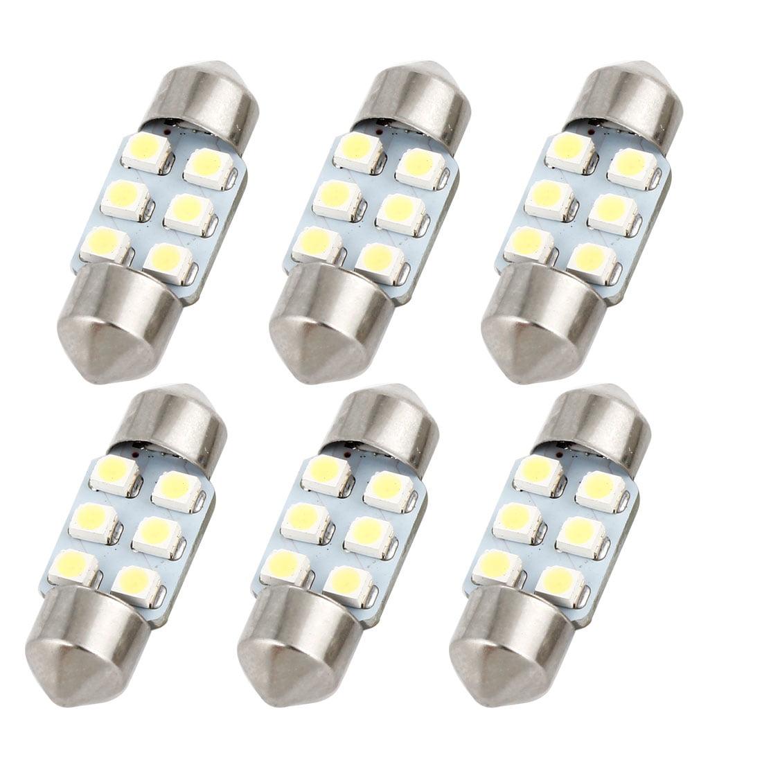 6 Pcs White Dome Light Lamp Bulb DE3175 Internal