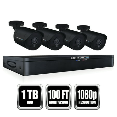 - Night Owl 8 Channel HD Video Security DVR with 1 TB HDD and 4 x 1080p HD Wired Bullet Cameras