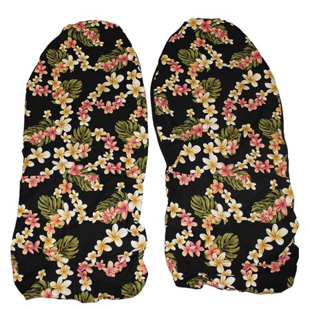 Hawaiian Car Seat Covers, Black Plumeria, set of 2 Front Bucket seat covers, Made in Hawaii USA