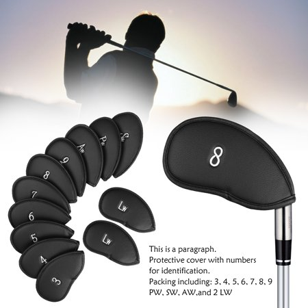Golf 12pcs Black Synthetic Leather Golf Iron Head Covers Set Headcover Protector Waterproof, Easily get The Needed Iron for Titleist, Callaway, Ping, Taylormade, Cobra (Callaway Golf Head Covers)