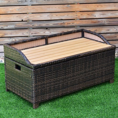 Costway 50 Gallon Storage Bench Container Box Rattan Wicker Chest Organizer (Rattan Organizer)