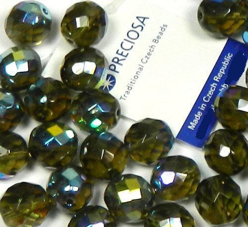 Black Diamond Ab (Smoke) Czech 10mm Faceted Round Firepolished Glass, Loose Beads,