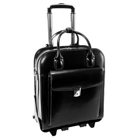 Detachable Wheeled Laptop Overnighter - McKlein LA GRANGE, Patented Detachable -Wheeled Ladies' Laptop Briefcase, Top Grain Cowhide Leather, Black (96495)