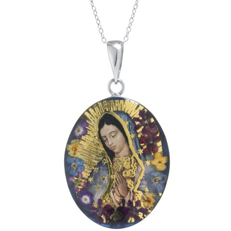 Sterling Silver Our Lady of Guadalupe Everlasting Flower Pendant
