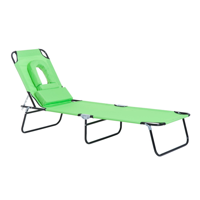 Green Garden Sun Lounger /& Side Table Plastic Home Garden Adjustable Reclining