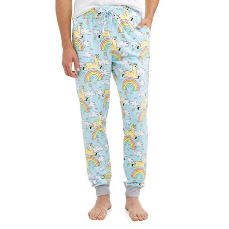 Men's Llamas and Rainbows Jogger Lounge Pant (Mens Novelty Lounge Pants)