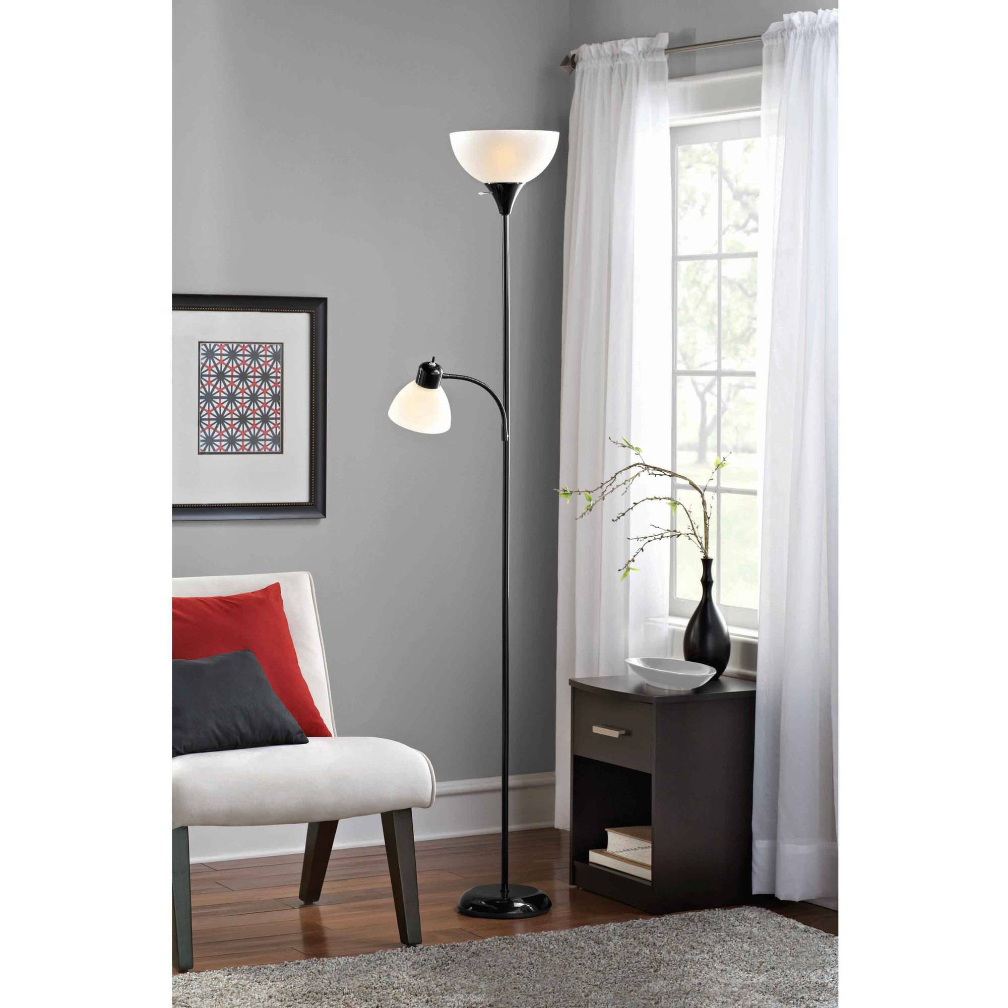 Mainstays Combo Floor Lamp With Bulbs Included