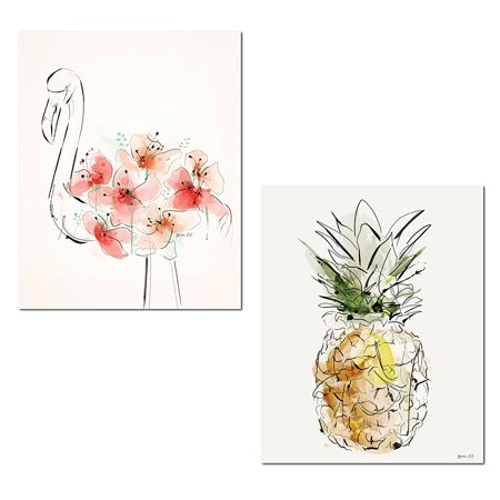 Pink Flamingo Set (Tropical Watercolor-Style Pink Floral Flamingo and Yellow Pineapple Set; Two 11x14in Paper Poster Prints )