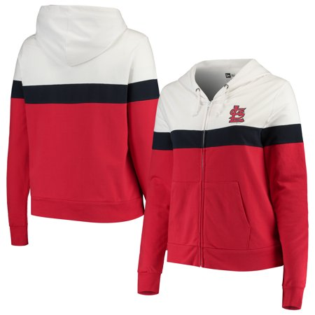 St. Louis Cardinals New Era Women's Plus Size Colorblock French Terry Full-Zip Hoodie - Red/White ()