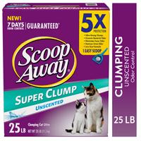 Scoop Away Super Clump Clumping Cat Litter, Unscented, 25 Pounds