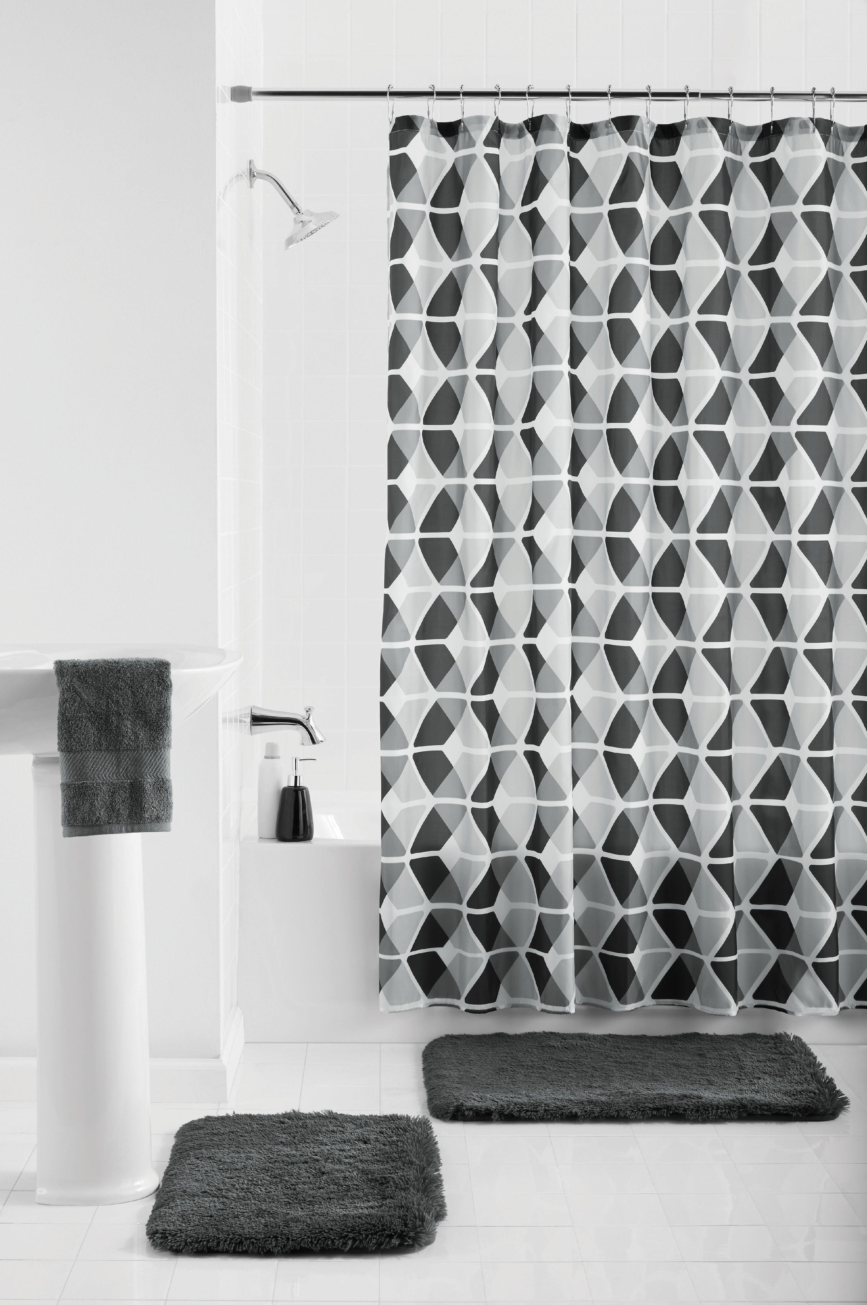 Mainstays Trapezoid 15-Piece Shower Curtain Bath Set ...