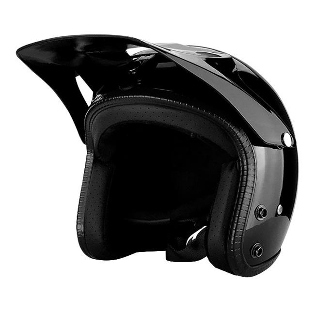 RS Helmets RS-8658-1-Undermask-Large 3 by 4 Open Face Motorcycle Helmet with Off Road Visor Gloss Black - Large