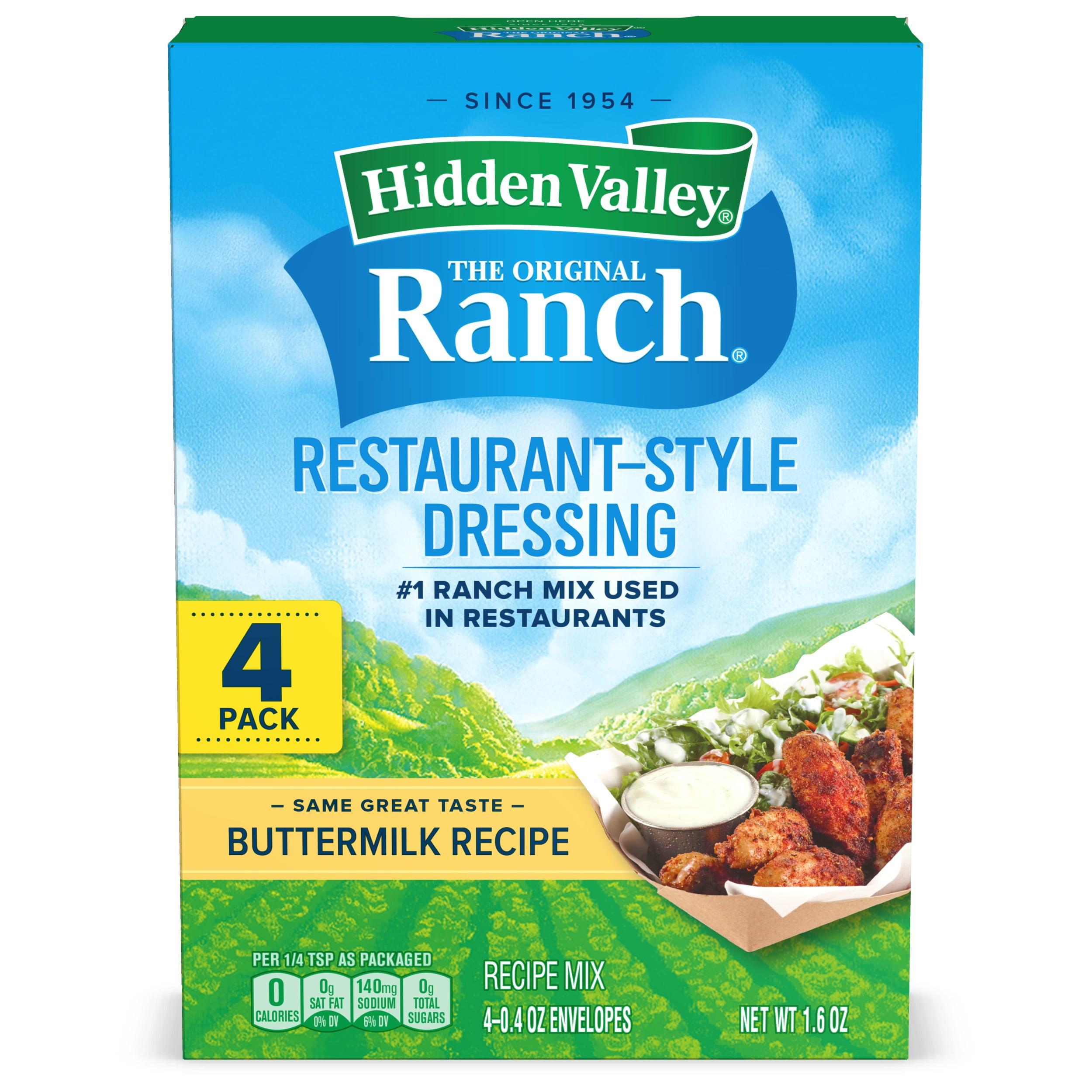 Hidden Valley Buttermilk Ranch Salad Dressing Seasoning Mix Gluten Free 4 Packets Walmart Com Walmart Com