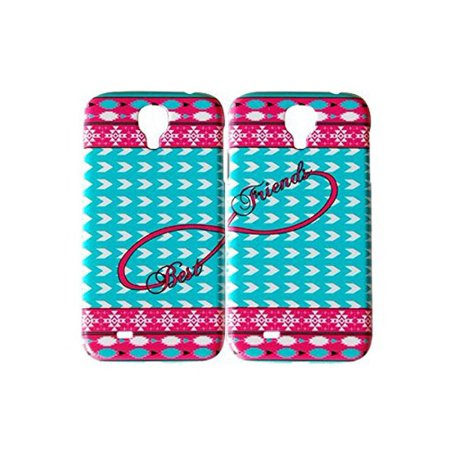 Set Of Aztec Hot Pink Blue Best Friends Phone Cover For The Samsung Galaxy S4 Case For iCandy