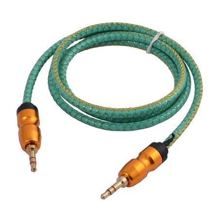 Laptop 3.5mm Male to Male PU Snake Stripes Audio Cable Turquoise Color 1M Long