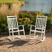 Dixie Seating Indoor/Outdoor Slat Rocking Chairs - White - Set of 2